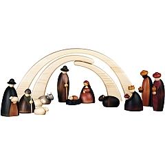 Krippenfiguren 12 teilig 17 cm groß mit Stall