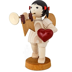 Schleifenengel mit Herz und Fanfare gebeizt