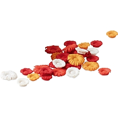Wooden Flowers sorted in white, orange and red