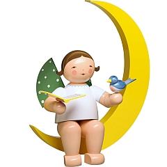 Engel mit Liederbuch und Vogel im Mond groß