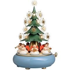 Spieldose mit unter dem Baum sitzenden Engeln