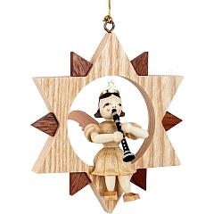 Engel Naturholz im Stern mit Klarinette