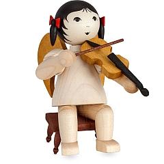 Schleifenengel mit Geige auf Hocker gebeizt