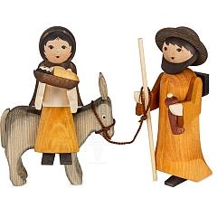 Maria und Josef auf Esel 13 cm gebeizt