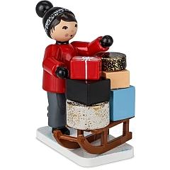 Geschenkträger mit Schlitten rot von Ulmik