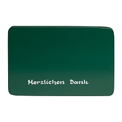 "Beschriftete Sockelplatte grün ""Herzlichen Dank"""