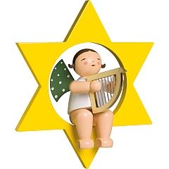 Engel mit Harfe im Stern groß