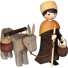Eselkarawane Treiber mit Esel und Eimer 13 cm gebeizt
