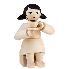 Kaffeekränzchen Winterkind Mädchen mit Kaffeetasse natur von Ulmik