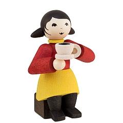 Kaffeekränzchen Winterkind Mädchen mit Kaffeetasse gebeizt von Ulmik