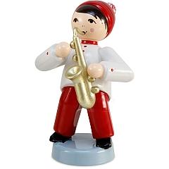 Wintermusiker mit Saxophon rot von Ulmik