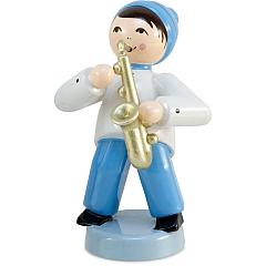 Wintermusiker mit Saxophon blau von Ulmik