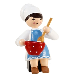 Plätzchenbäckerin mit Schüssel blau von Ulmik