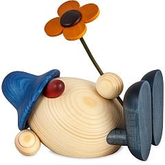 Eierkopf Vater Oskar mit Blume liegend blau 15 cm