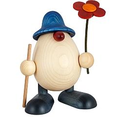 Eierkopf Vater Rudi mit Blume und Stock blau 15 cm