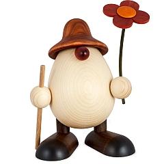 Eierkopf Vater Rudi mit Blume und Stock braun 15 cm