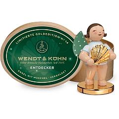 Limitierte Goldedition No.14 Entdecker Engel mit Muschel auf Metallsockel vergoldet in Spanschachtel von Wendt & Kühn