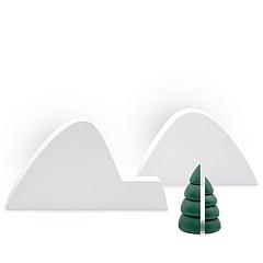 Winterlandschaft 1 mit zwei halben grünen Bäumen