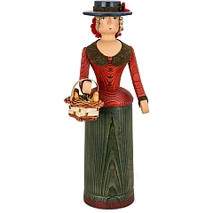 Rattle Doll red - green with basket and chicken