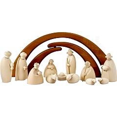 Krippenfiguren 12 teilig 12 cm natur mit Stall braun